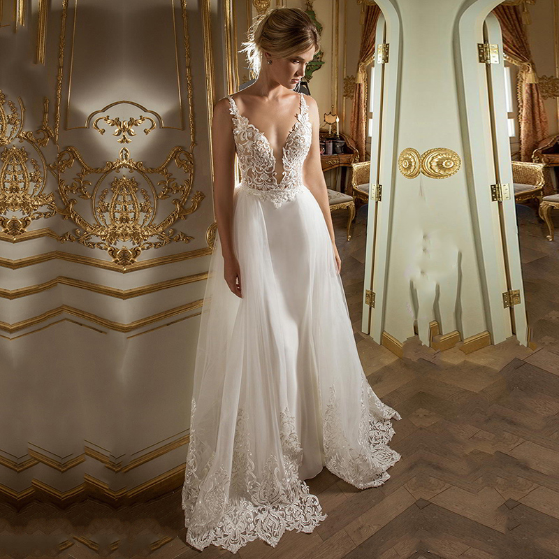 Eightale Boho Wedding Dresses Spaghetti Strap A-Line Appliques Beaded Beach Wedding Gowns Backless Simple Lace Bride Dresses