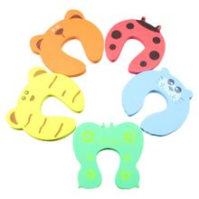 Cartoon Animals Door Stopper Drawers Cupboard Safety Lock Clamp EVA Foam Finger Pinch Guard Children Security Protector(China)