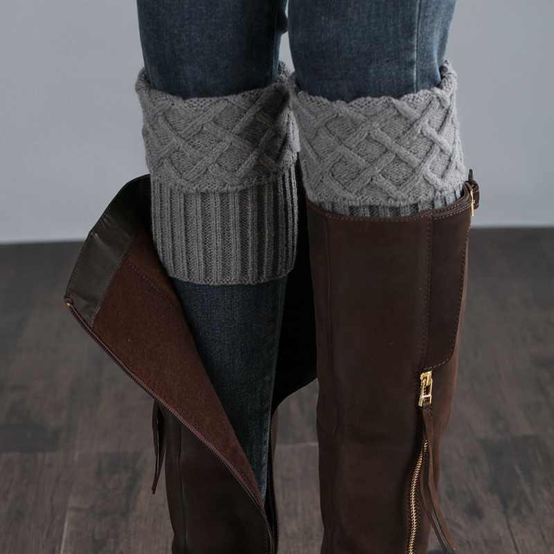 Bao Tay Chân Ngắn Cho Nữ Kim Cương Kiểm Tra Acrylic Dệt Kim Khởi Động Vòng Bít Tất Bao Giày Phụ Kiện