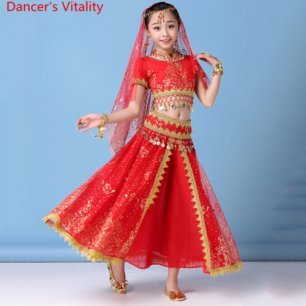 Indian Dance Practice Clothes New Kids Girls Elegant Chiffon Top Big Hem Skirt Coin Belt Set Sari Belly Dancers Training Outfits