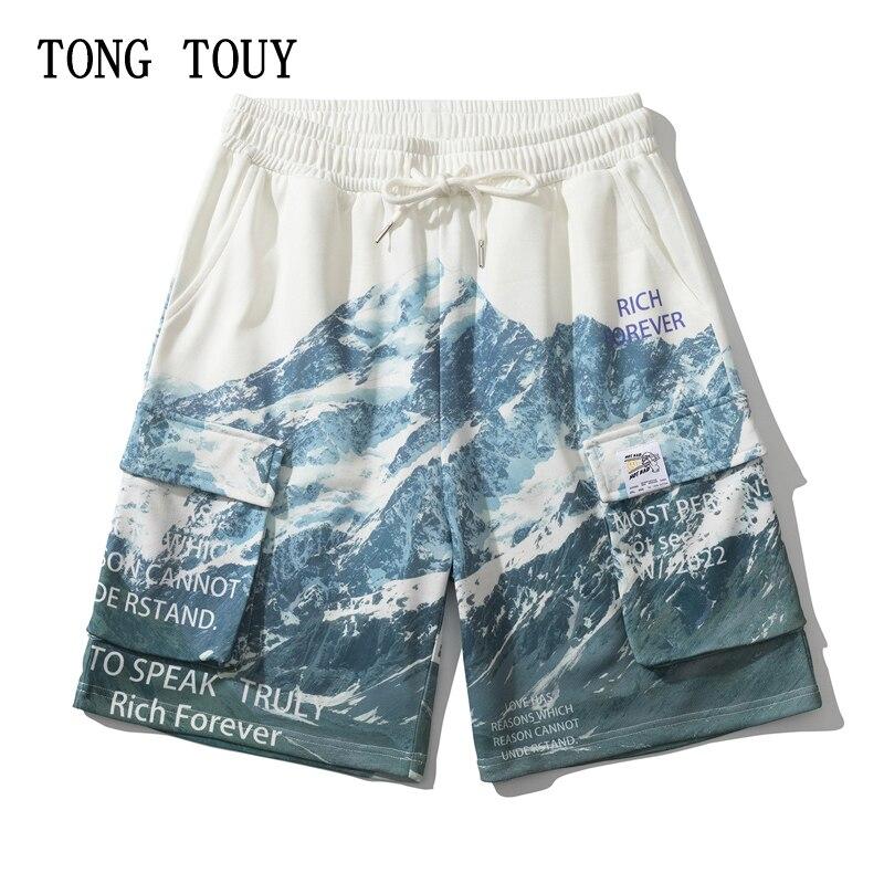Streetwear Harajuku Snow Mountain Print Running Shorts Men Cotton Cargo Pants Summer Casual Joggers Sports Shorts Hip Hop Shorts