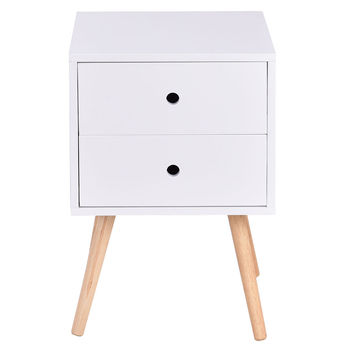 Costway White Side End Table Nightstand w/ 2 Drawers Mid-Century Accent Wood Furniture