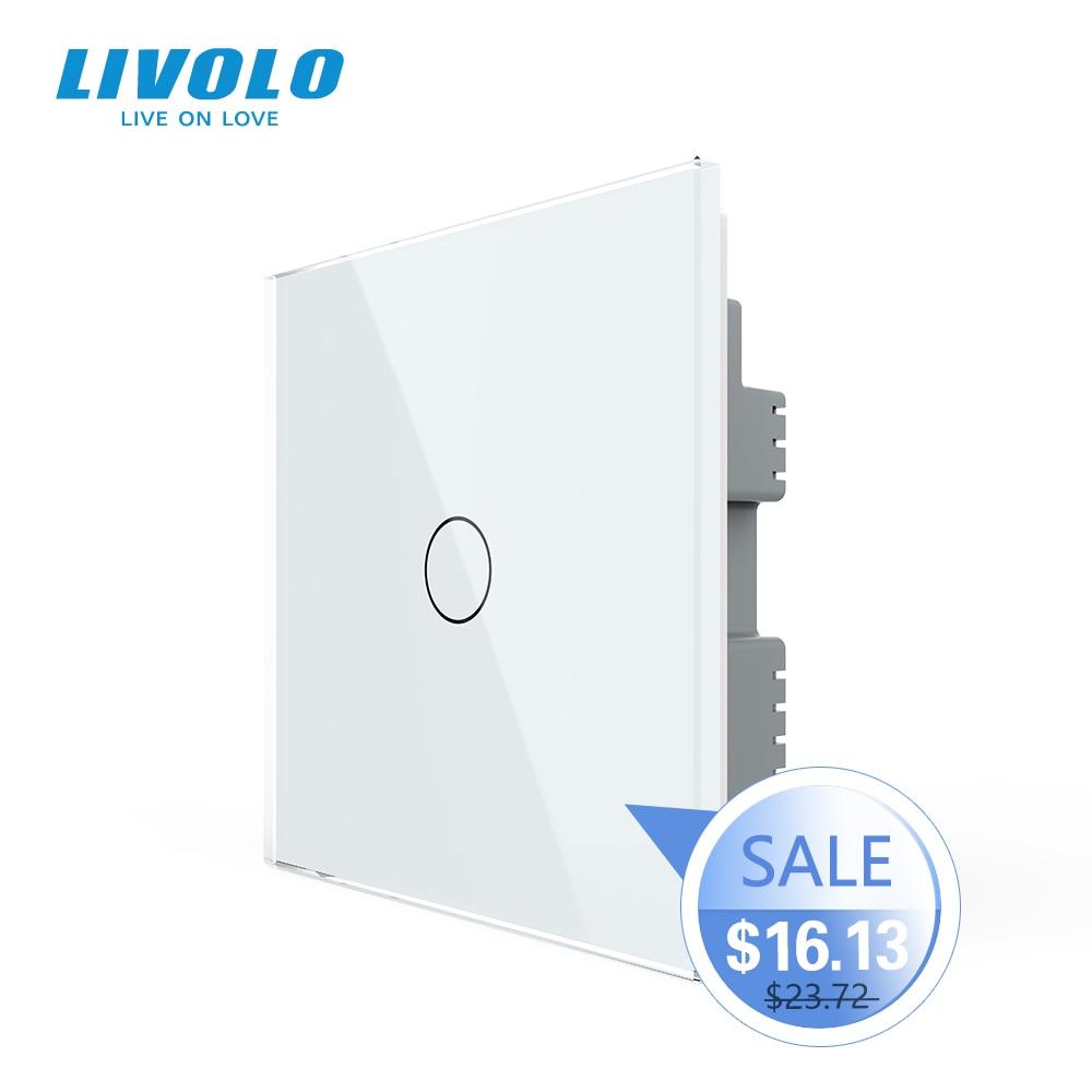 Livolo B6 стандарт Великобритании 1way настенный светильник сенсорный выключатель, белая стеклянная панель, дистанционный беспроводной переклю...