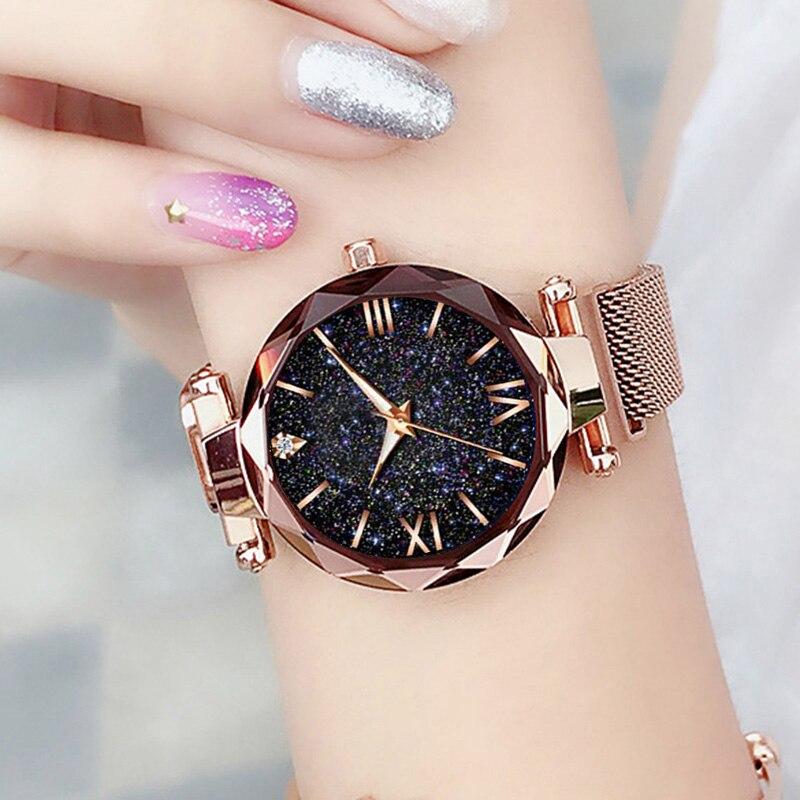 Прямая поставка роскошные женские часы магнитные звездное небо женские часы кварцевые наручные часы модные женские наручные часы Relogio Feminino