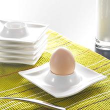 Malacasa 시리즈 플로라 6 조각 화이트 도자기 계란 스탠드 홀더 아침 식사 계란 컵 접시 주방 도구 (11.5*11.5*2.5cm)