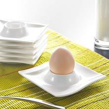 Malacasa Series Flora 6 Piece White Porcelain Egg Stand Holder Breakfast Egg Cups Plates Kitchen Tools (11.5 * 11.5 * 2.5cm)