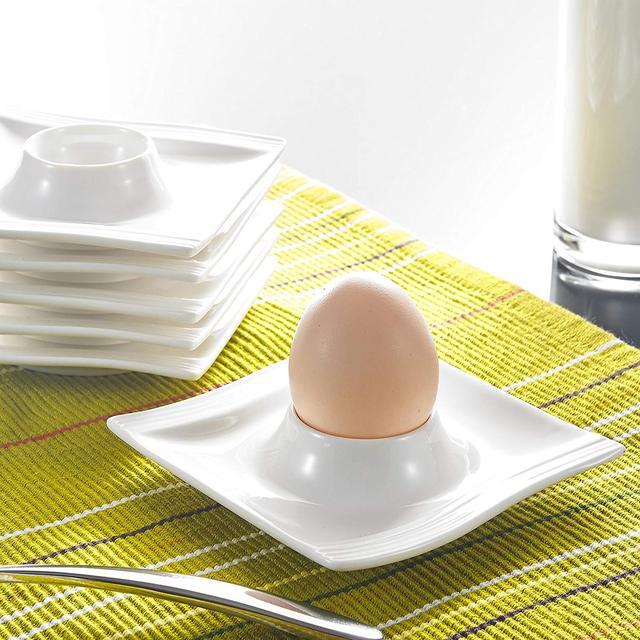 Malacasa Series Flora 6 Piece White Porcelain Egg Stand Holder Breakfast Egg Cups Plates Kitchen Tools (11.5 * 11.5 * 2.5cm)