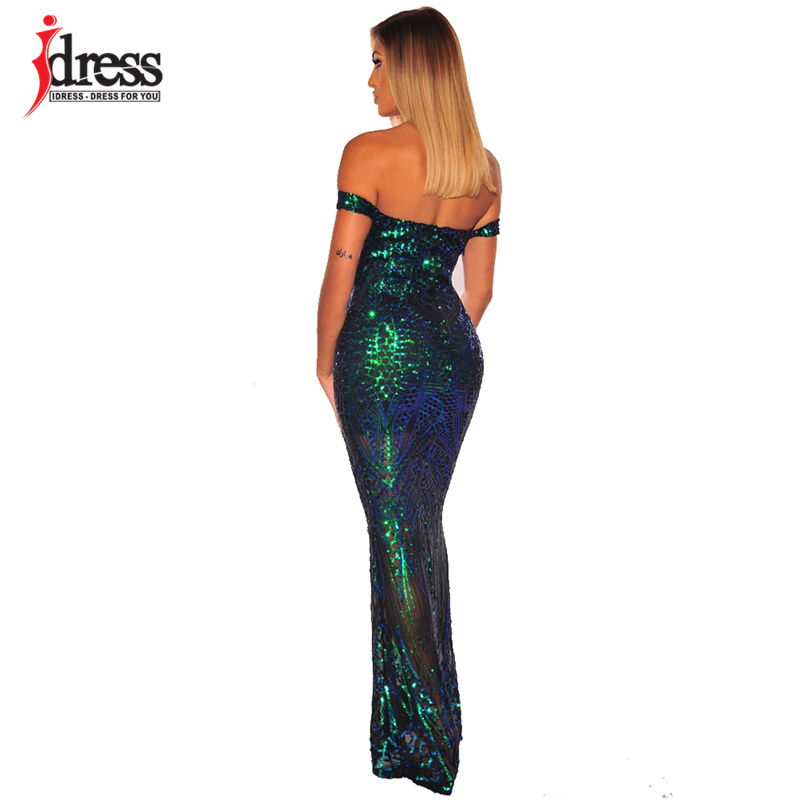 H6c888fccc361430d86311a25ee5f583dX - IDress Sexy Sequined Long Summer Dress Elegant Off Shoulder Evening Party Dresses Women Long Dress Sexy Bodycon Maxi Dress