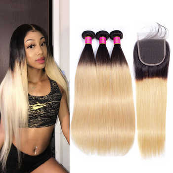 TODAY ONLY Straight Hair Bundles With Closure Ombre Bundles With Closure Blonde Peruvian Hair Bundles With Closure Remy 1b/27 - DISCOUNT ITEM  58% OFF All Category