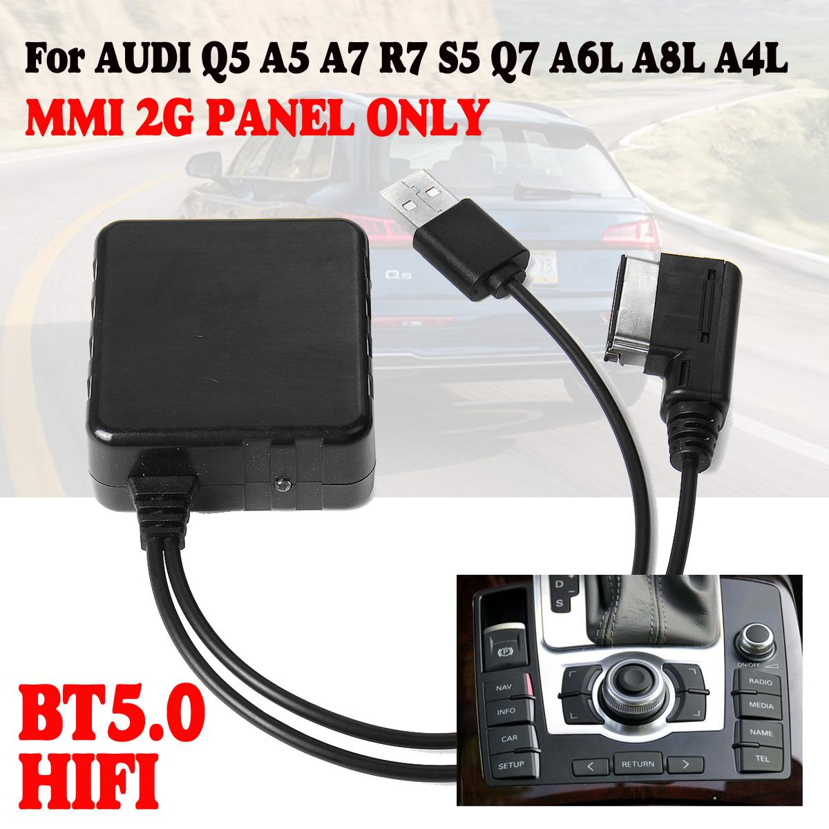 <font><b>12V</b></font> MMI 2G Car <font><b>bluetooth</b></font> <font><b>AUX</b></font> Cable <font><b>Adapter</b></font> Wireless For AUDI Q5 A5 A7 R7 S5 Q7 A6L A8L A4L image