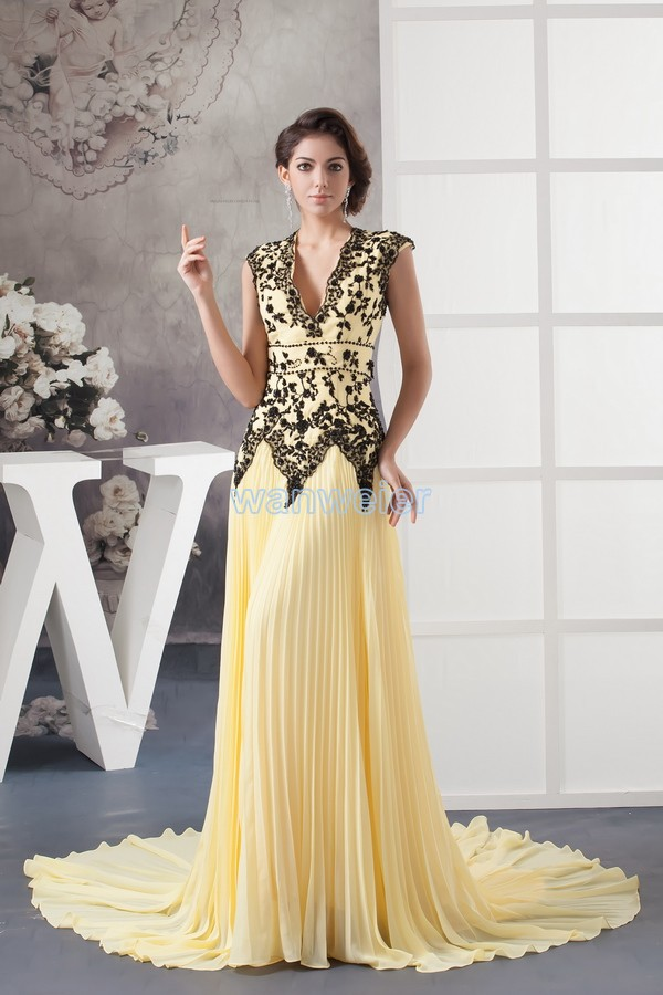 Free Shipping New Design Custom Size/color Maid Of Honor Evening Gown Black Appliques Yellow Plus Size Mother Of The Bride Dress