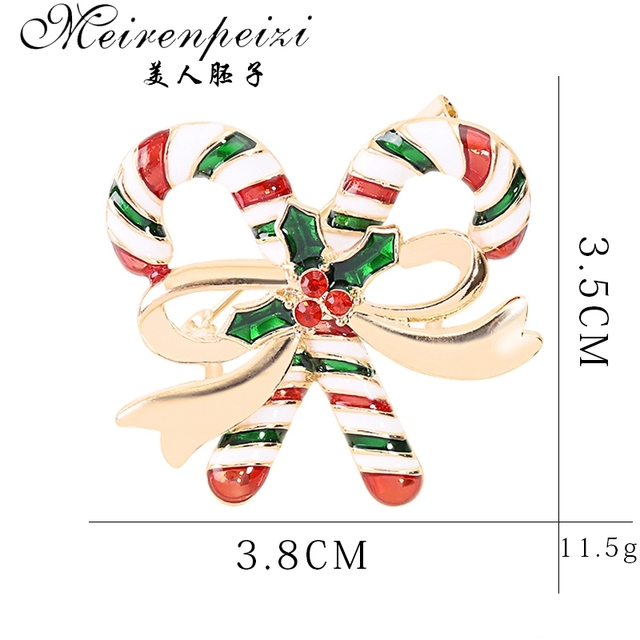 Meirenpeizi Merry Christmas Brooches Pins Cute Santa Claus Hat gloves Bells Socks Donuts Candy Enamel Pin Badges Brooch 2