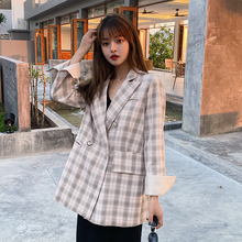 Vintage Single Breasted Plaid Women Blazer Pockets Jackets Female Retro Suits Coat Feminino blazers Outerwear high quality
