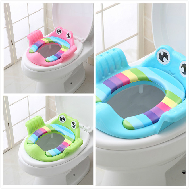 Baby Foldable Toilet Cartoon Baby Potty Training Seat Ring Girls Boys Trainers Toilet Pad With Armrests Assistant Soft Stool