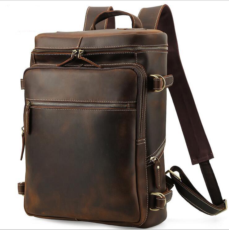 Bagaj ve Çantalar'ten Sırt Çantaları'de Luufan Çılgın At deri Erkek Sırt Çantası Sırt çantası hakiki deri büyük kapasiteli laptop çantası erkek seyahat sırt çantası geniş okul çantası'da  Grup 1