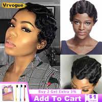 Corte Pixie-peluca Perruque Cheveux Humain para mujer, pelo corto Natural ondulado, pelucas de cabello humano 1/2/3, pelucas de Bob corto, VRVOGUE