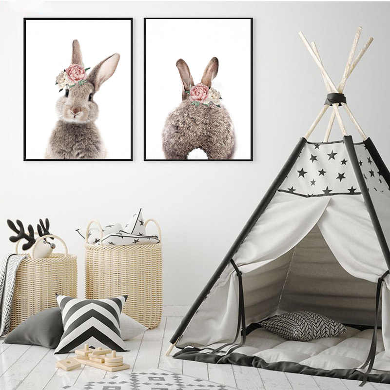 2 panels Minimalist Bunny Rabbit Nursery Wall Canvas Painting Print And Poster Wall Pictures for Living Room Kids Room Decor