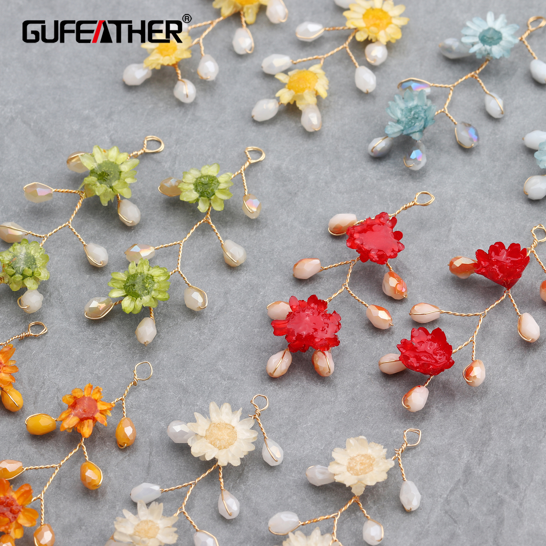 GUFEATHER M622,jewelry Accessories,18k Gold Plated,dried Flower,jewelry Findings,hand Made,jewelry Making,diy Earrings,6pcs/lot