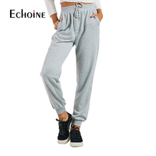 Casual Autumn winter Long Loose Women Sports Pants 2019 New Elastic Drawstring lace up Pants Trousers joggers womens sweatpants new print women golf pants lady long trousers with fleece autumn sports pants for korean style slim elastic pants xs xxl winter