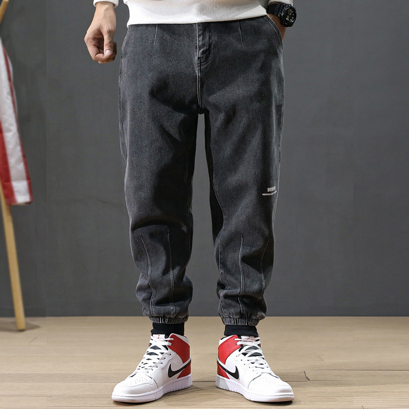 Japanese Style Fashion Men Jeans Gray Color Loose Fit Spliced Cargo Pants Harem Jeans Vintage Designer Hip Hop Joggers Jeans Men