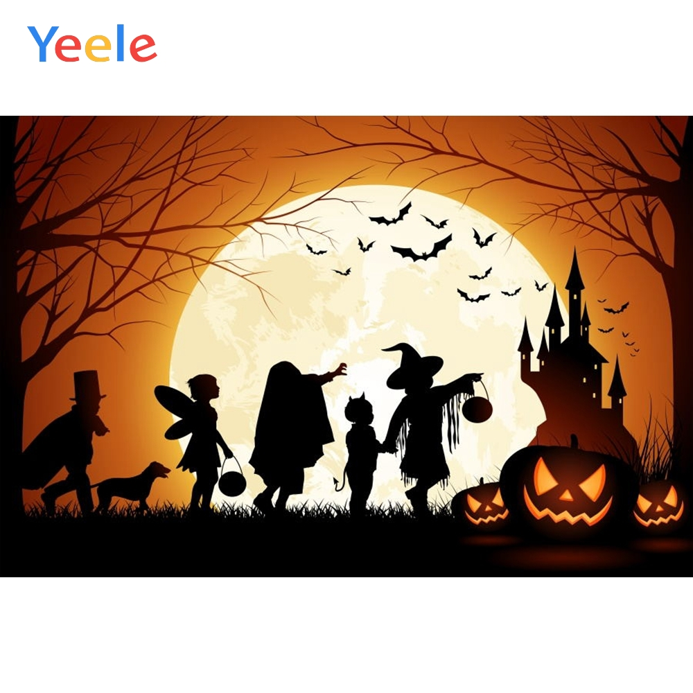 Yeele Photophone Halloween Backdrop Pumpkin Lantern Moon Bat Forest Magician Castle Vinyl Photography Background Photo Studio