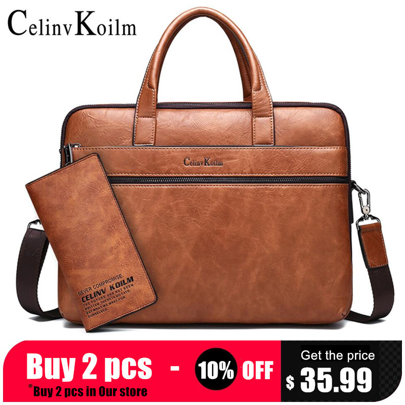 Briefcase-Bags Handbags Tote Laptop Office Men's Koilm Celinv for 14-2pcs-Set High-Quality