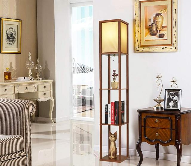 LED Shelf Floor Lamp Wooden Frame Tall Light with Organizer Storage Display Shelf-Modern Standing Lamps for Living Room Bedroom Home Decor & Toys