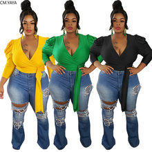 Cm. Yaya Plus Size L-4XL Vrouwen Solid Puff Lange Mouwen Tie Up Zoom V-hals Blouse Shirt Sexy Kleding Outfits