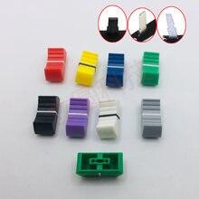 10 pces cor misturador fader tampão de slide em linha reta potenciômetro fader botão/discos de reprodução botão tampão de botão 4mm furo de ajuste de áudio