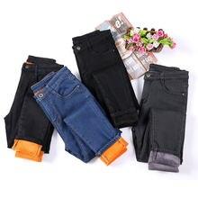 Зимние флисовые бархатные джинсы карандаш для женщин повседневные