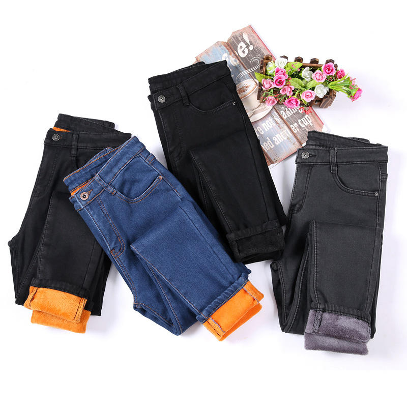 Winter Fleece Velvet Pencil   Jeans   For Women Casual Pants High Elastic Waist Gold Fleeces Inside Warm Pants