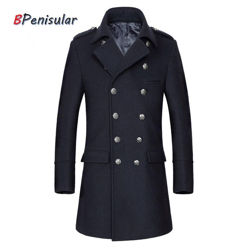 2019 Winter Men Trench Coats Wool Coat Windbreaker Long Overcoat Double Breasted Military Uniform Jacket Casual Peacoats for Men