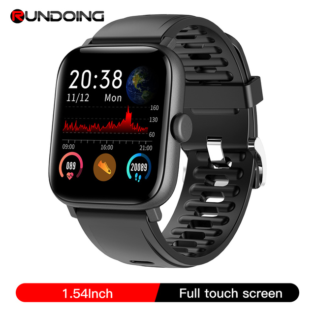 RUNDOING NY16 Full Touch screen smart watch with Aluminum alloy Case IP68 waterproof smartwatch For Android and IOS