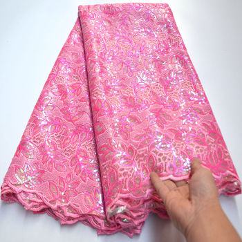 Gorgeous African sequins Lace Fabric pink embroidered French Lace Fabric High quality Nigerian lace Fabric For Wedding mv320