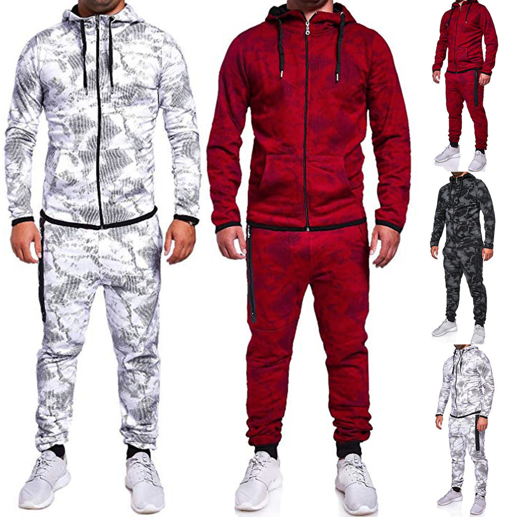 Men's Autumn Print Zipper Sweatshirt Hooded Top Pants Sets Sports Suit Tracksuitstranger Things Hoodies  Pokemon Tactical Pants