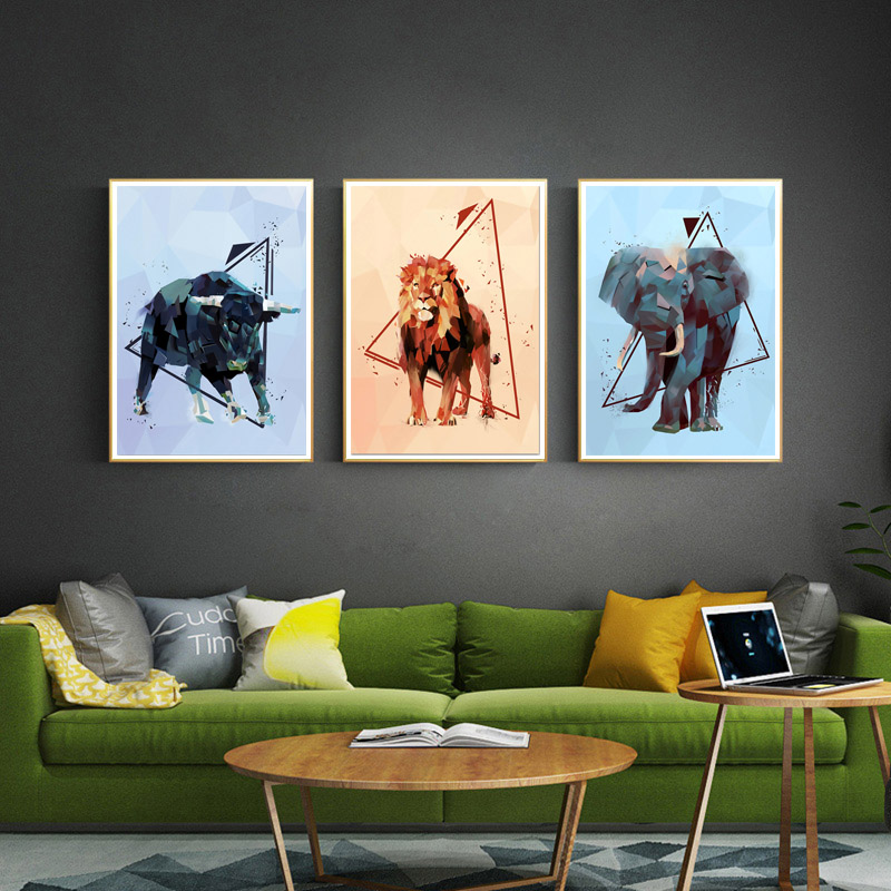 5D DIY Geometry Elephant Lion Wolf Bear Deer Diamond Painting Nordic Style Animal Wall Art Canvas Embroidery