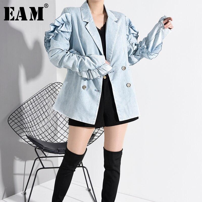 [EAM] Loose Fit Blue Ruffles Split Joint Denim Short Jacket New Lapel Long Sleeve Women Coat Fashion Tide Spring 2020 WK25305