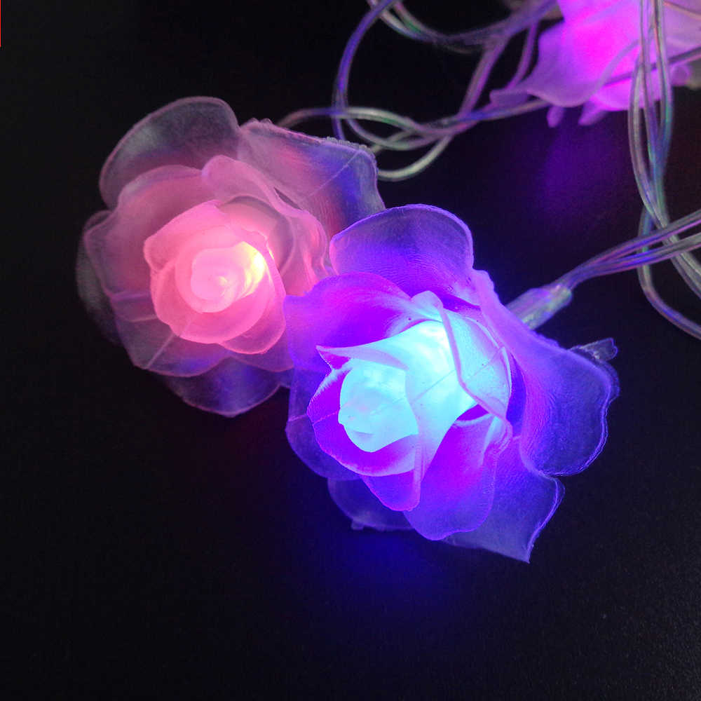 20 LED Rose Flower String Luces leds decoration Fairy Lights Wedding Home Valentine's Day Event Party Garland Decor Luminaria