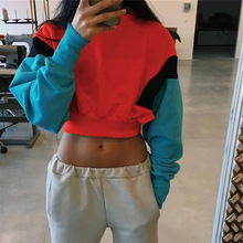 2019 Autumn Pullover Crop Hoodies Sweatshirts Candy Color Patchwork Hoodies Women Long Sleeve Crop Top Hoodie Crop Sweatshirt цена и фото