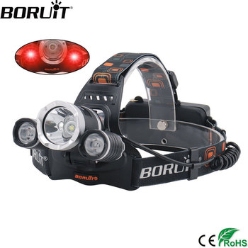 BORUIT RJ-3000 Red XML T6 XPE LED Headlamp 18650 USB Charger Headlight 3-Mode Waterproof Head Torch Camping Hunting Flashlight boruit 3 mode zoomable headlamp 1000lm xml t6 led headlight usb charge head torch camping flashlight hunting frontal lantern