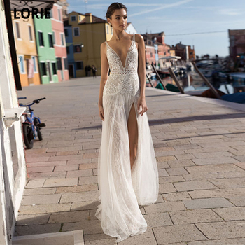 LORIE Bohemia Beach Wedding Dresses Lace Mermaid Sexy V-neck Open Back Illusion Bridal Gowns Vintage Wedding Party Dresses 2020 long white mermaid v neck open back lace court train sexy vintage formal wedding dresses fashion wedding gowns custom made