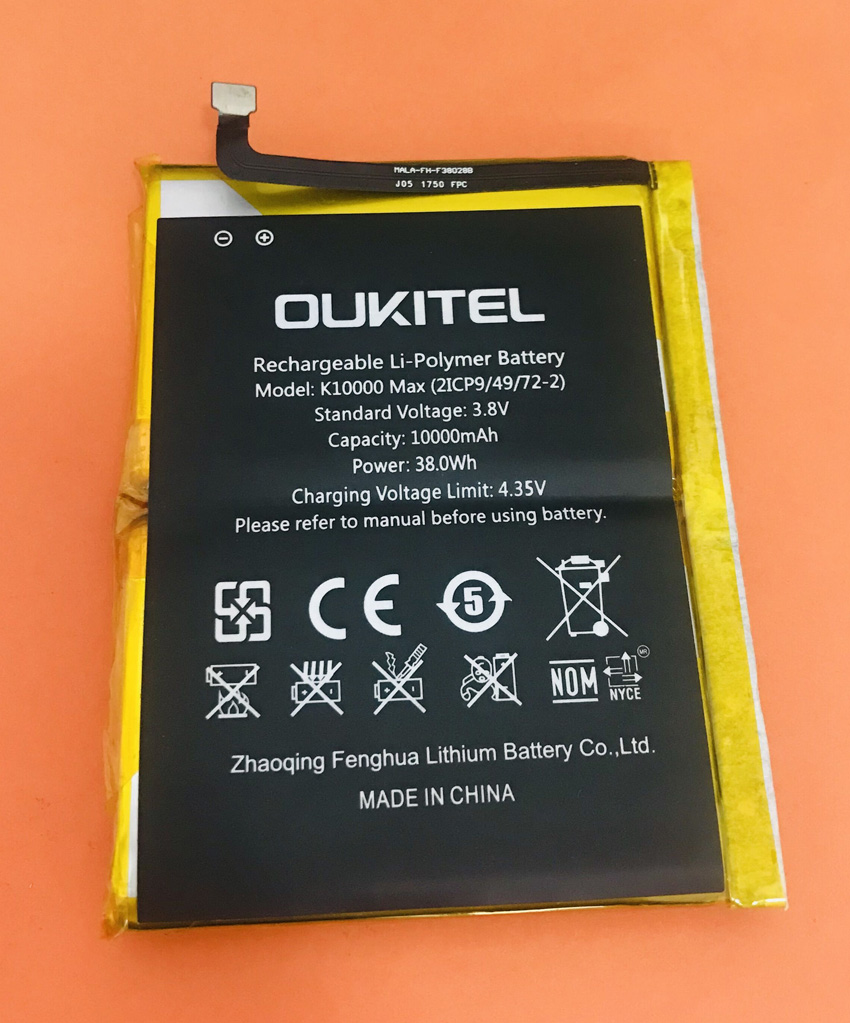 Used Original Battery Batterie Batterij Bateria 10000mAh For Oukitel K10000 Max MT6753 Octa Core image