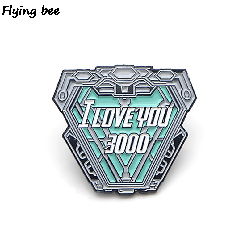 Flyingbee I Love You Three Thousand Pins Iron Man Cool Brooch And Pin Enamel Pins Badges Lapel Pin Brooches For Friends X0440