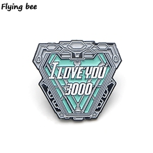 Flyingbee I love you three thousand Pins Iron man Cool Brooch and Pin Enamel Badges Lapel Brooches for Friends X0440