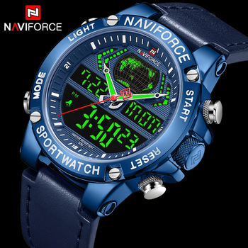 NAVIFORCE 9164 Quartz Watch Leather Waterproof Military Dual Display Clock For Male with box