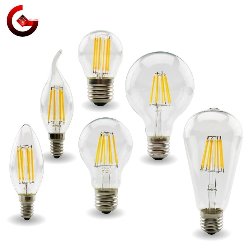 E27 E14 ретро Edison лампа со светодиодными нитями на цоколе лампы 220V-240V лампочки C35 G45 A60 ST64 G80 G95 G125 стеклянная колба старинные лампы в форме свечи с...