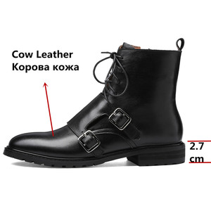 Image 3 - FEDONAS Quality Genuine Leather Cow Patent Leather Women Ankle Boots Lace Up High Heels Female Party Shoes Woman Short Boots