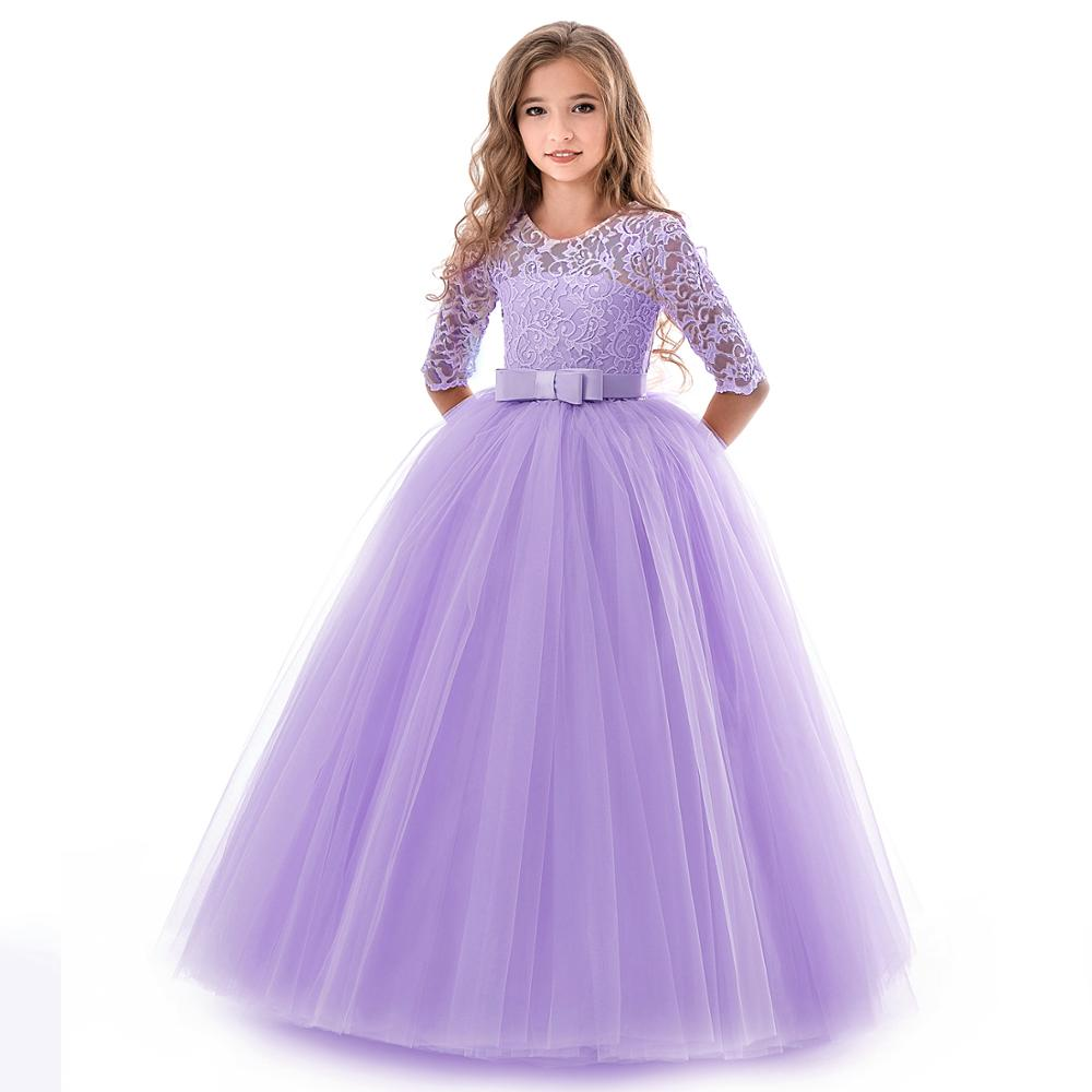 New Princess Lace Dress Kids Flower Embroidery Dress For Girls Vintage Children Dresses For Wedding Party Formal Ball Gown 14T 4