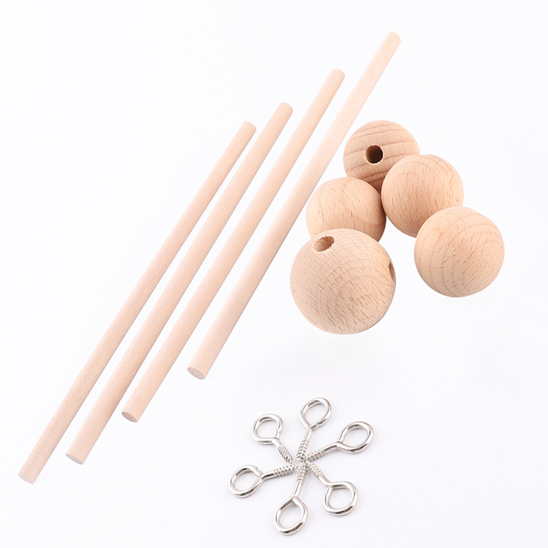 5pcs Baby Rattles Bracket Set Infant Crib Mobile Bed Bell Bracket Protection Newborn Baby Toys Beech Wood Holder Accessories