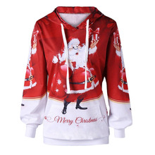 Hot Women's Sweater Ugly Santa Claus Sweater Santa Claus Print Loose Casual Pullover Autumn And Winter Hooded Christmas Costume